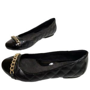 B.O.C Black Faux Leather Gold Chain Quilted Flats